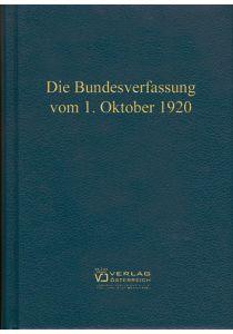 Die Bundesverfassung vom 1. Oktober 1920