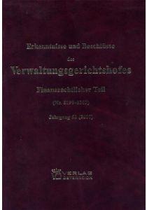 Erkenntnisse und Beschlüsse des Verwaltungsgsgerichtshofes